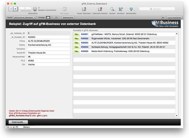 gFM-Business Beispiel-Datenbank für den Zugriff von extern