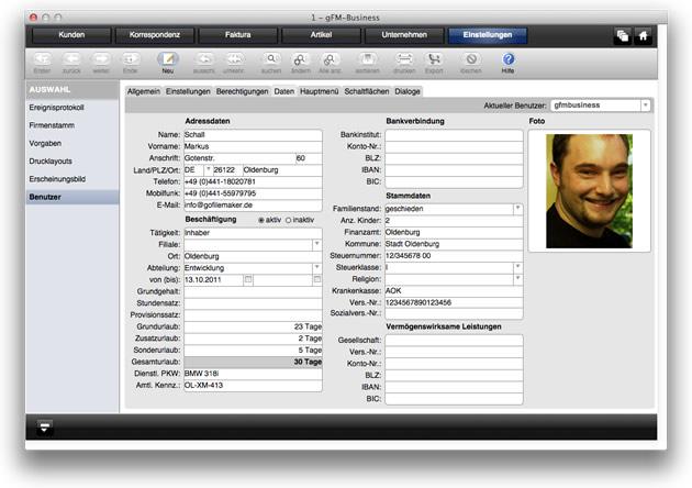 Benutzerverwaltung: Mitarbeiterstammdaten