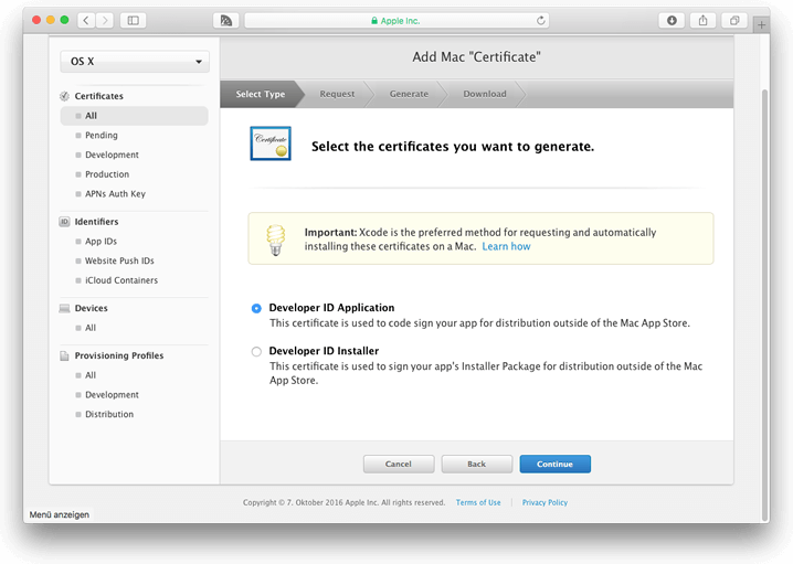 Select the certificates you want to generate