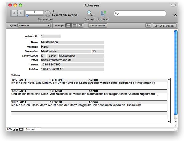 Fertige Grund-Datenbank der FileMaker-Einführung