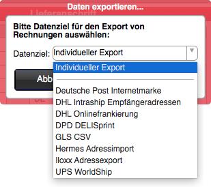 Fakturierung: Datenexport von Versandadressen