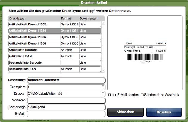 Druckdialog zur Ausgabe von Dymo Etiketten