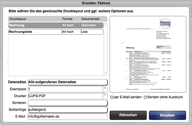 Druck-Popover in gFM-Business Light