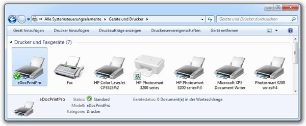 Systemsteuerung - Drucker - eDocPrintPro