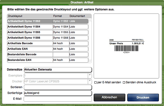 Druckdialog mit passenden Drucklayouts zur Auswahl