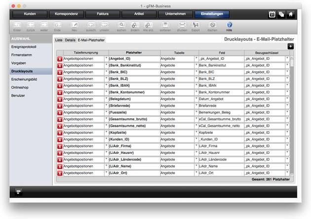Verwaltung von Platzhaltern für E-Mails