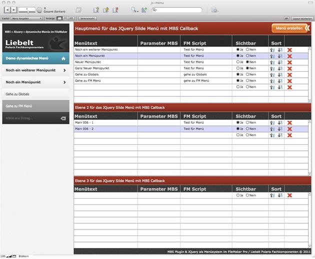 Dynamische Menüs direkt in FileMaker administrieren.