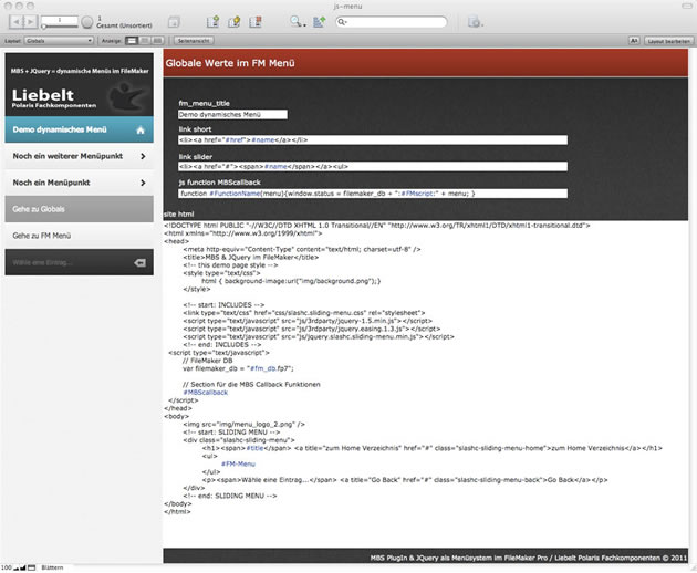 Berechnung der JavaScripte direkt in FileMaker.