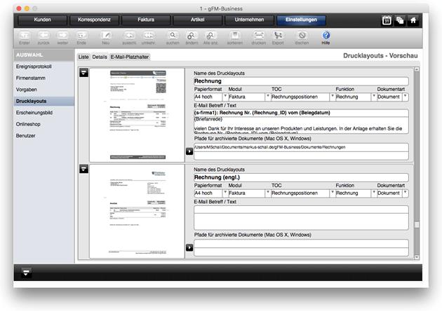 Detaileinstellungen zu Drucklayouts mit E-Mail-Vorlagen