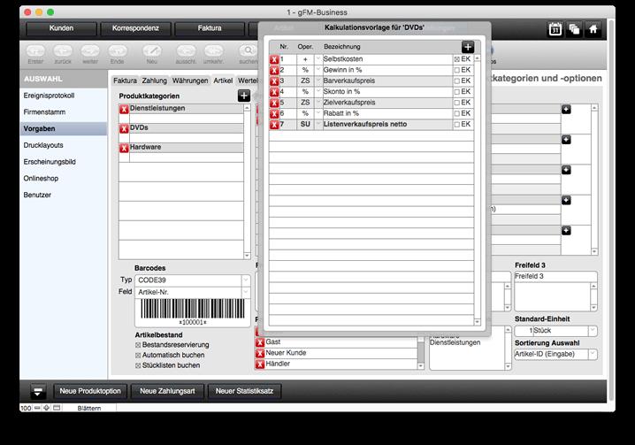 Produktkategorien mit Kalkulationsvorlage