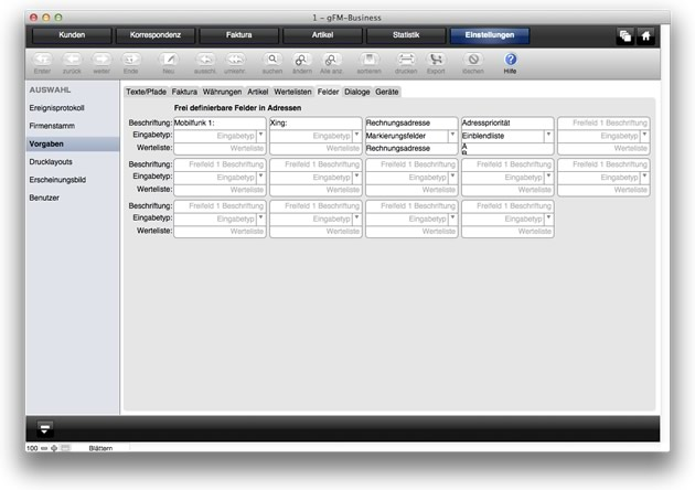 CRM: Frei definierbare Adressfelder