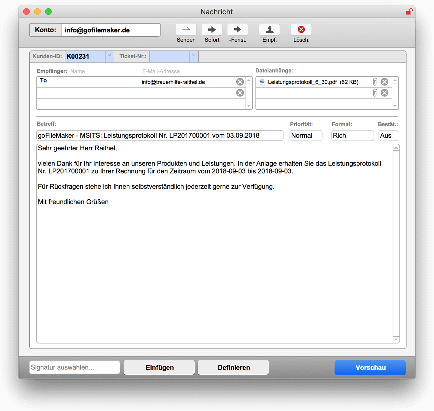 Neue E-Mail-Nachricht erstellen