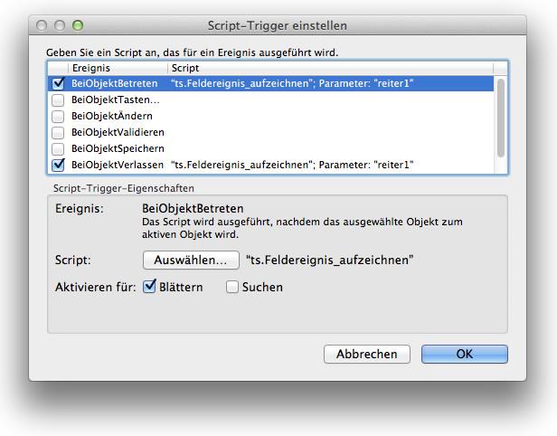 Script-Trigger für Feldwertaufzeichnung und Ereignisprotokoll