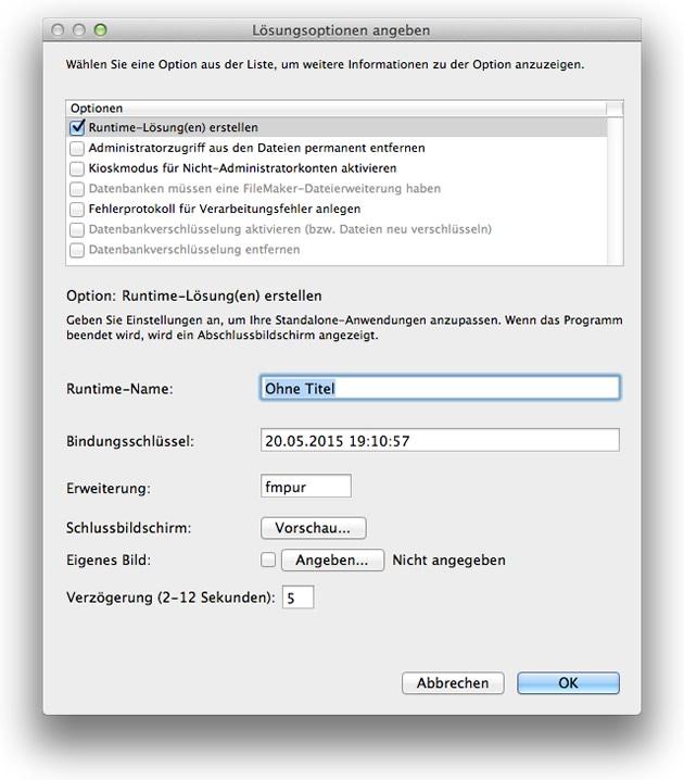 Abkündigung von FileMaker Runtime-Lösungen