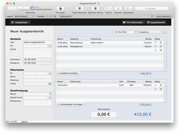 FileMaker 15 Starterlösung: Ausgabenbericht