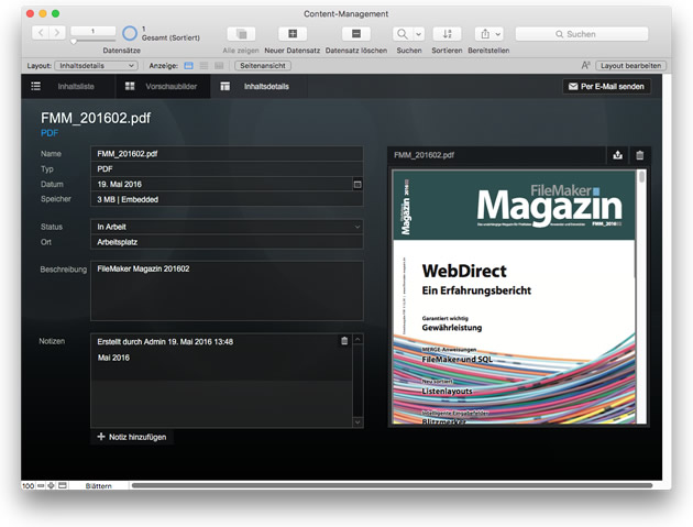 FileMaker 15 Starterlösung: Content Management