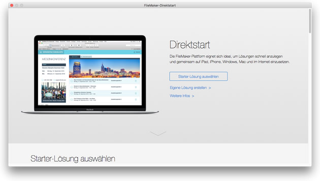 Direktstart-Funktion in FileMaker 15
