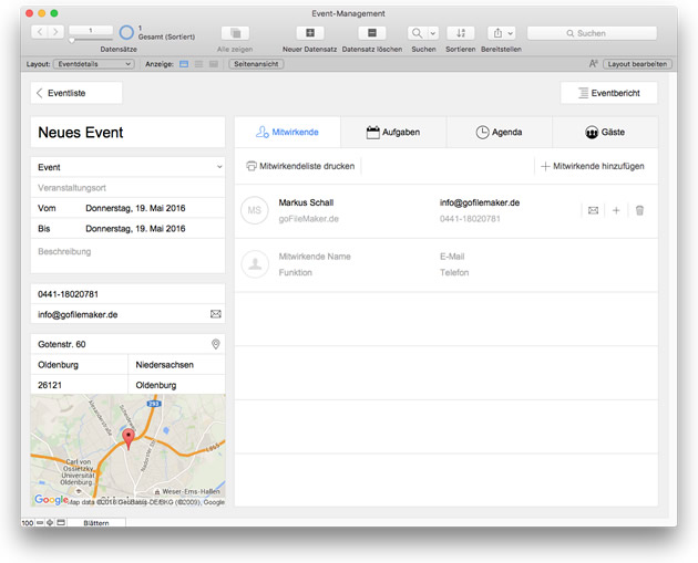 FileMaker 15 Starterlösung: Event Management