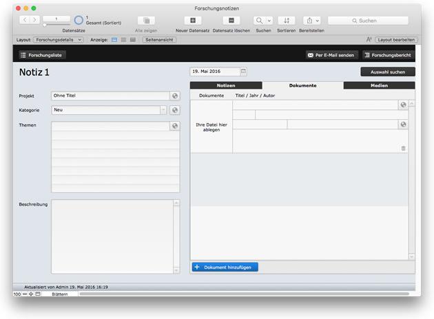 FileMaker 15 Starterlösung: Forschungsnotizen