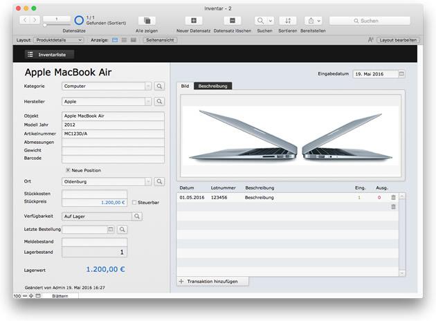 FileMaker 15 Beispiellösung: Inventar