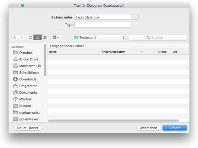 Dateiauswahl für Datenexport aus FileMaker