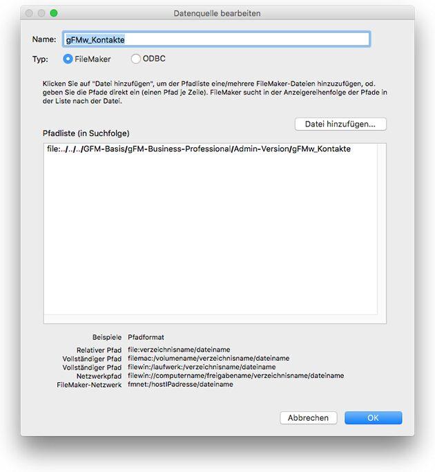FileMaker Datenquelle bearbeiten