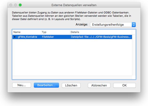 FileMaker: Datenquellen verwalten