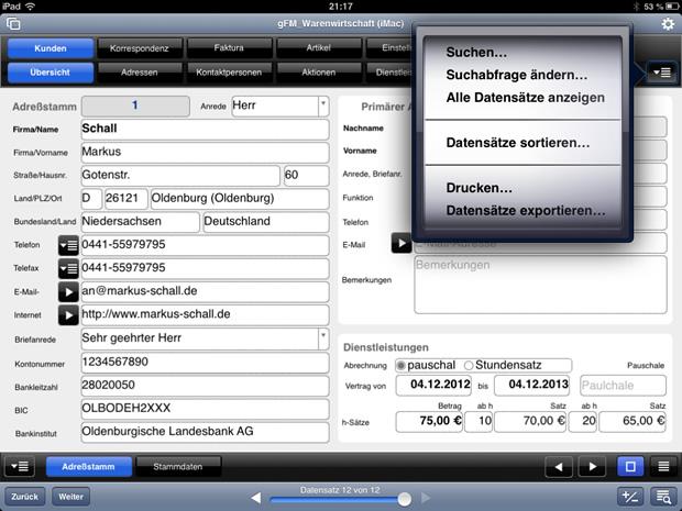 Popup-Menü ohne Plugin unter FileMaker Go auf dem iPad