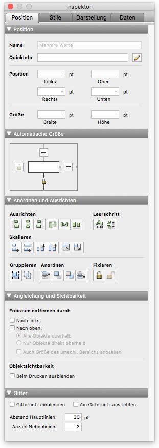 FileMaker Inspektor 'Position'