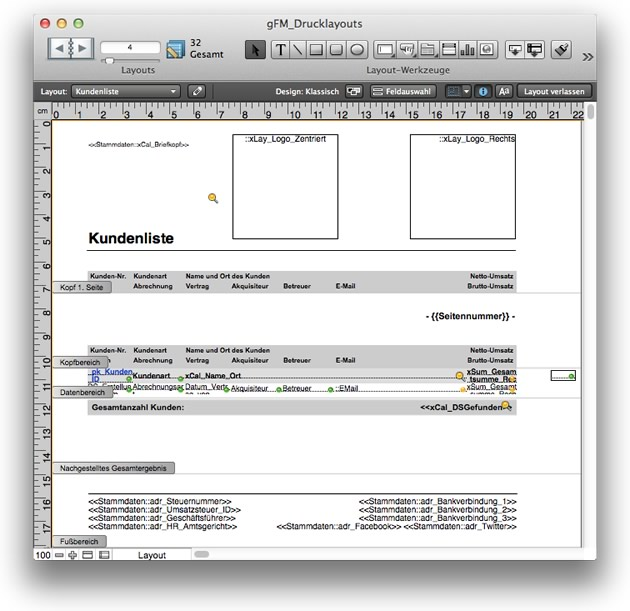 Layoutmodus in FileMaker
