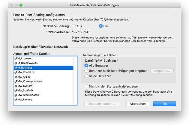 FileMaker-Datenbanken im Netzwerk freigeben