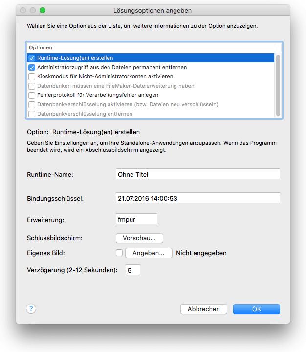 Erstellen einer FileMaker Runtimelösung