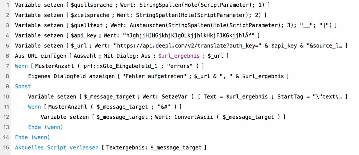 FileMaker Script für Google Translate und DeepL