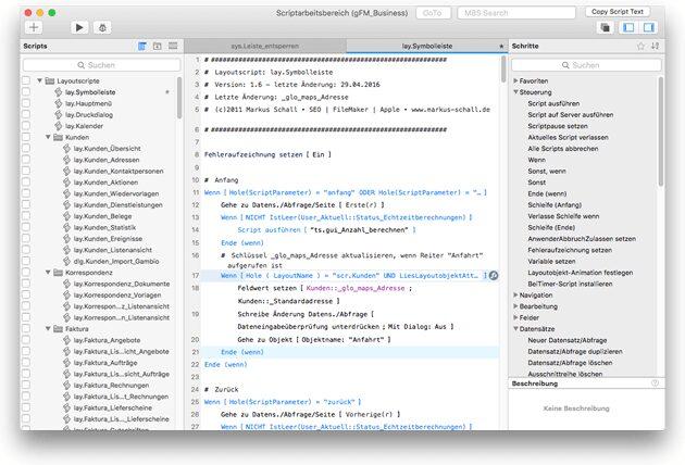 Scriptarbeitsbereich ab FileMaker 14