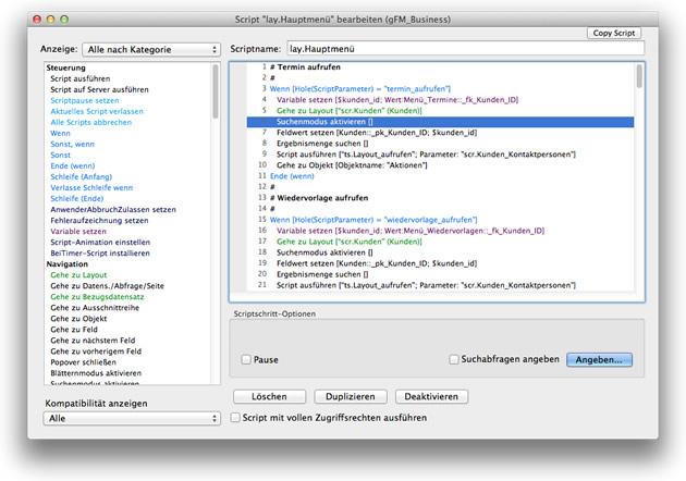 Script-Editor in FileMaker