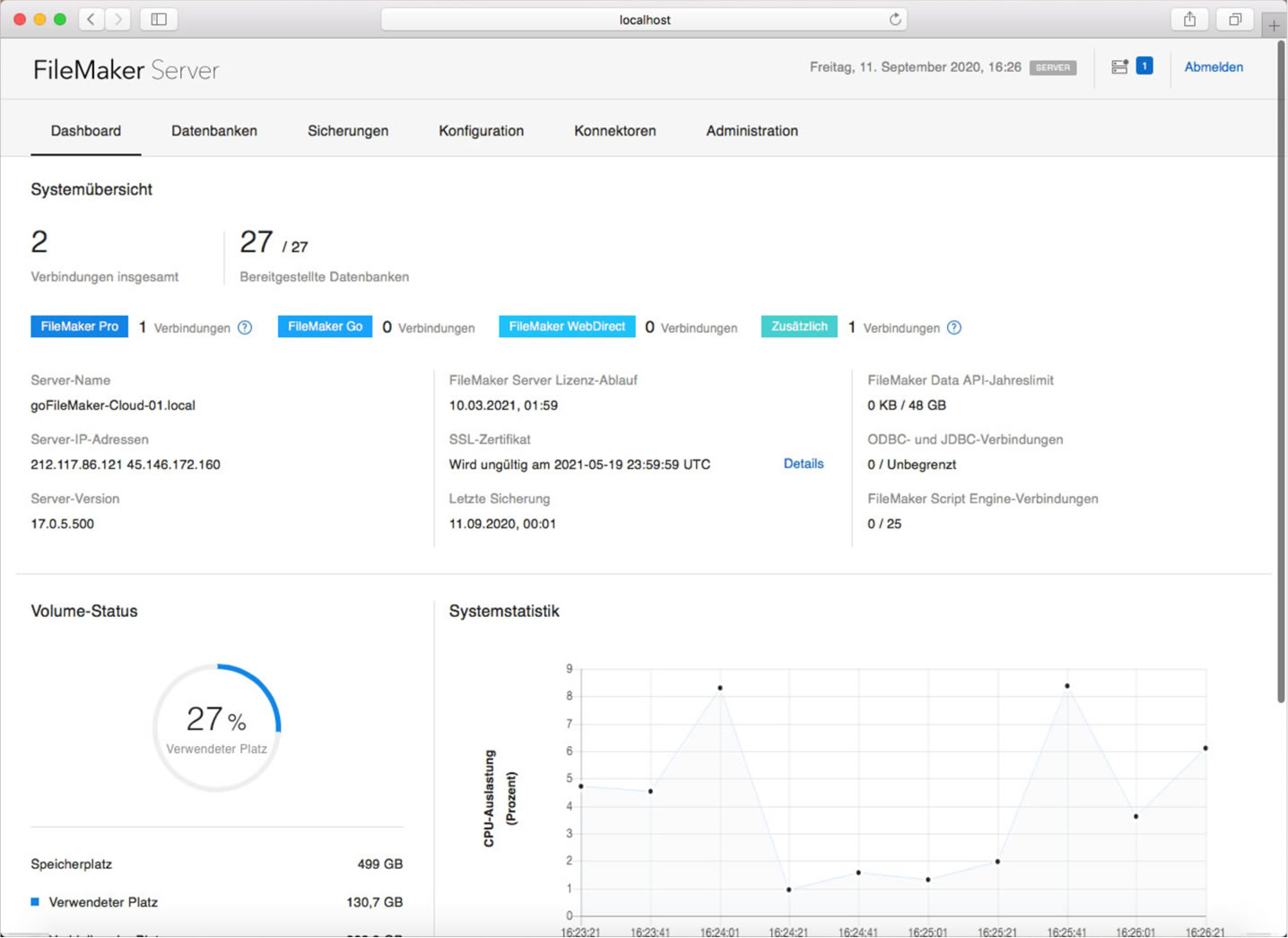 FileMaker Server Admin Konsole