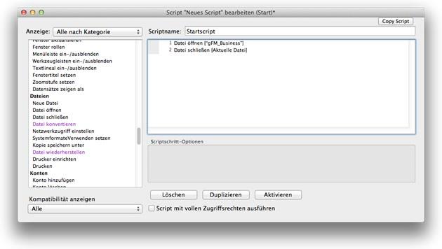 Start-Script zum Öffnen einer FileMaker-Datenbank