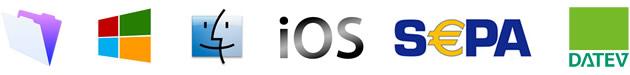 Unterstützt Windows, OS X, iOS, SEPA, DATEV