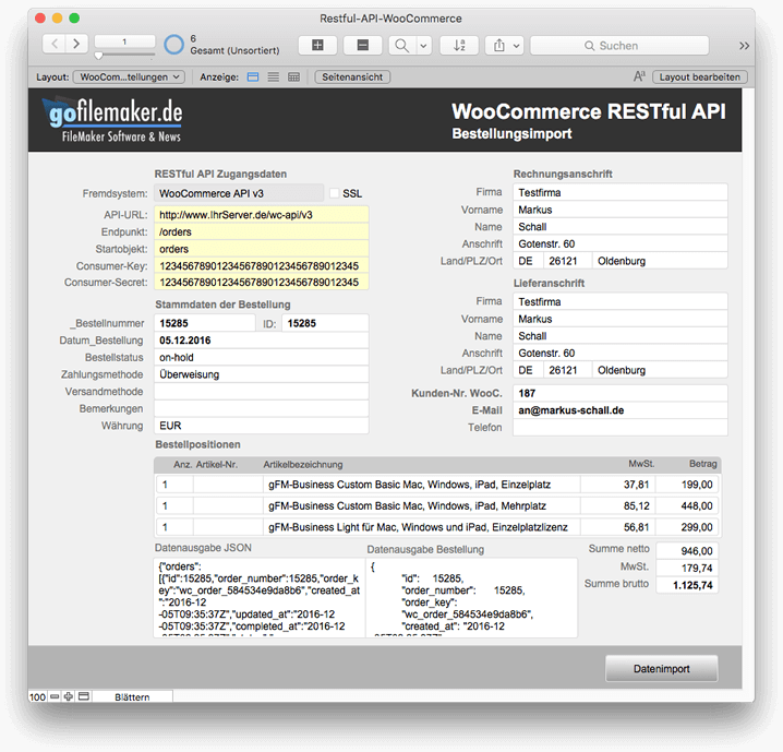 FileMaker Schnittstelle zur WooCommerce REST-API