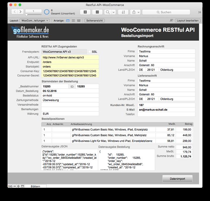 FileMaker Schnittstelle zur WooCommerce REST-API