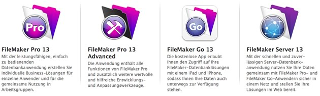 FileMaker 13 Produktfamilie