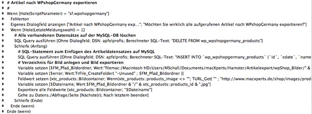 Vollständiges FileMaker-Script: Export nach wpShopGermany