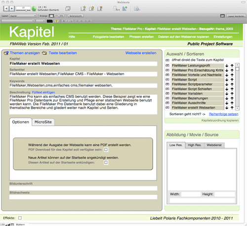 FileMaker-Lösung FM4Web: Screenshot Kapitel