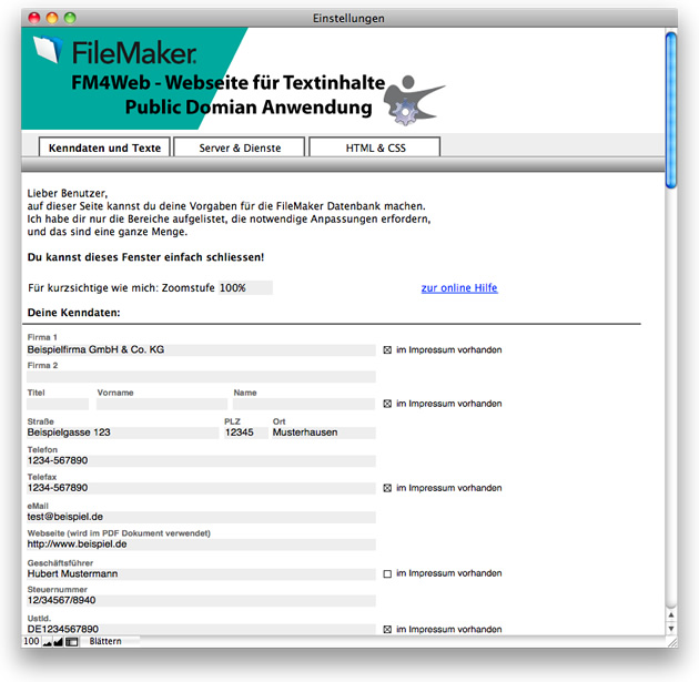 FileMaker-Lösung FM4Web - Screenshot Kenndaten