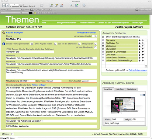 FileMaker-Lösung FM4Web: Screenshot Themen