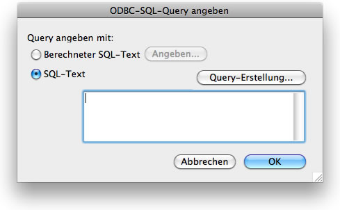 FileMaker: ODBC-SQL-Query angeben