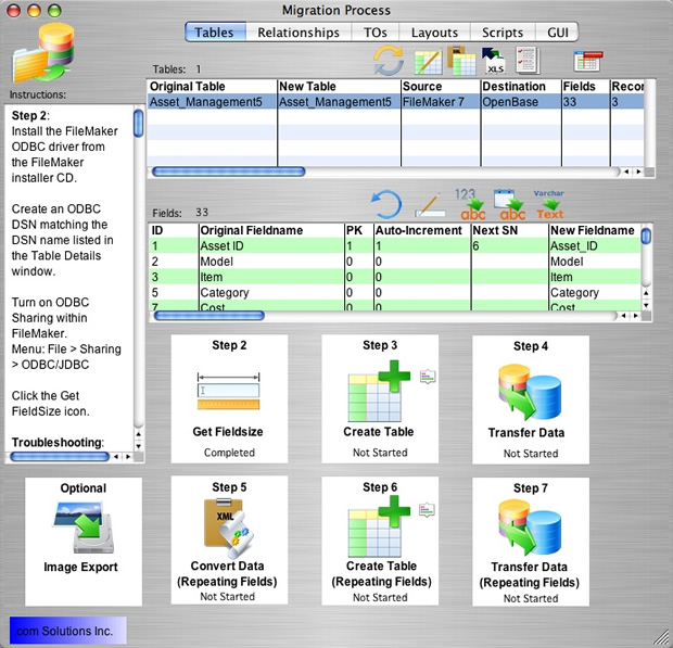 Screenshot FMPro Migrator