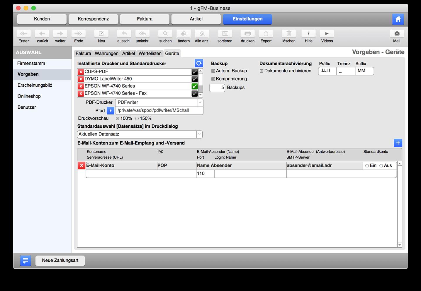 PDF-Druckertreiber in gFM-Business einrichten