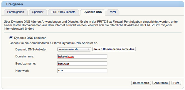 Dynamic DNS Einstellungen in der Fritz!Box
