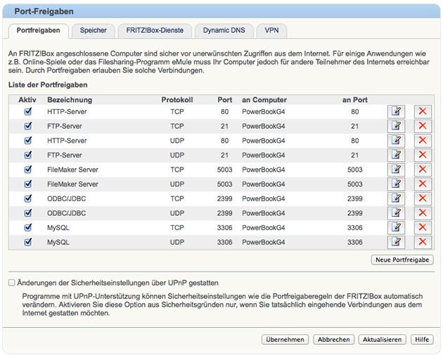 Fritz!Box: Portfreigaben für FileMaker